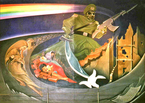 Leo Tanguma Mural at the New World  International Airport, of Denver/ Toledo, Colorado ungerground complex
