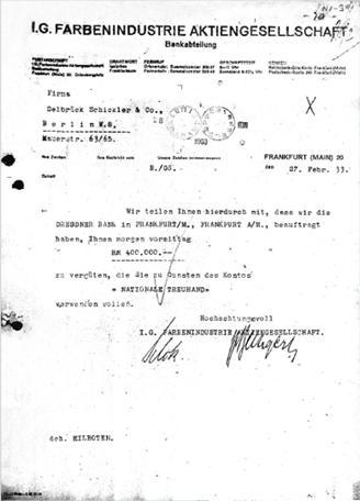 Transferencia de IG Farben al partido Nazi alemán durante la Segunda GuerraMundial